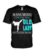 karate old lady V-Neck T-Shirt thumbnail