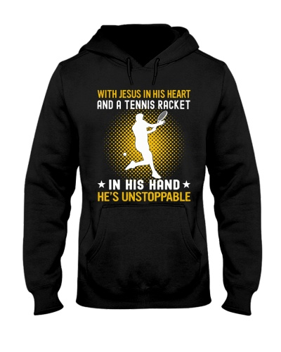 tennis in his hand