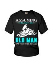 Snowmobile old man Youth T-Shirt thumbnail