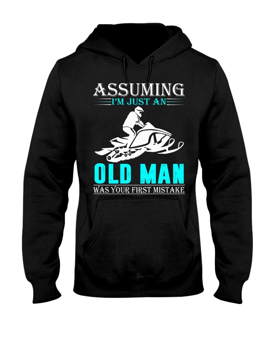 Snowmobile old man Hooded Sweatshirt