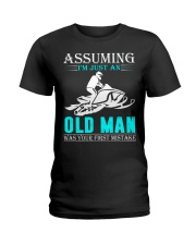 Snowmobile old man Ladies T-Shirt thumbnail