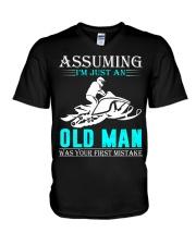 Snowmobile old man V-Neck T-Shirt thumbnail