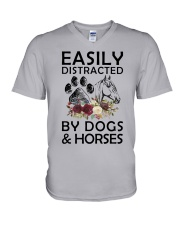 distracted by dogs and horse V-Neck T-Shirt thumbnail