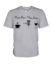 Plan for the day disc golf V-Neck T-Shirt thumbnail