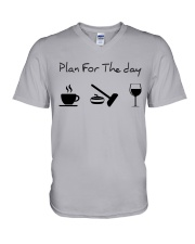 Plan for the day Curling V-Neck T-Shirt thumbnail