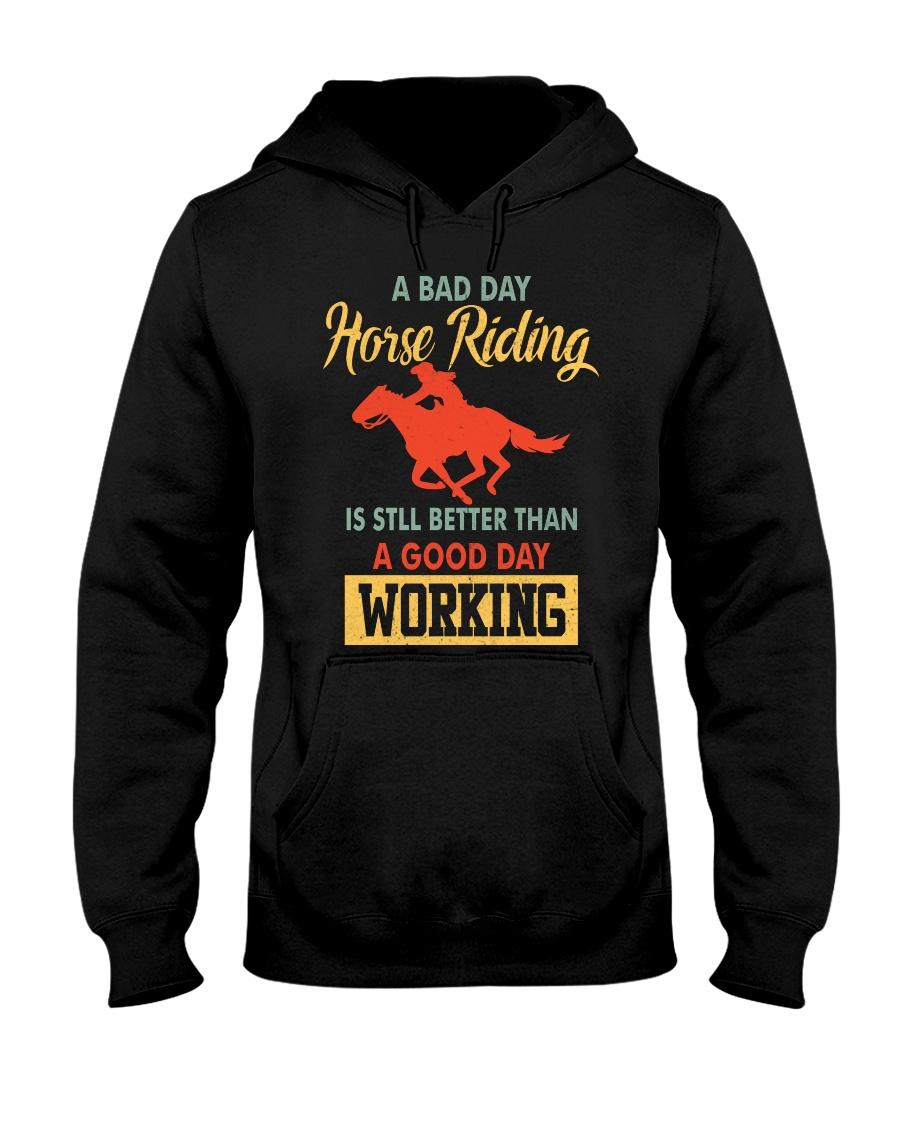 bad day horse riding Hooded Sweatshirt