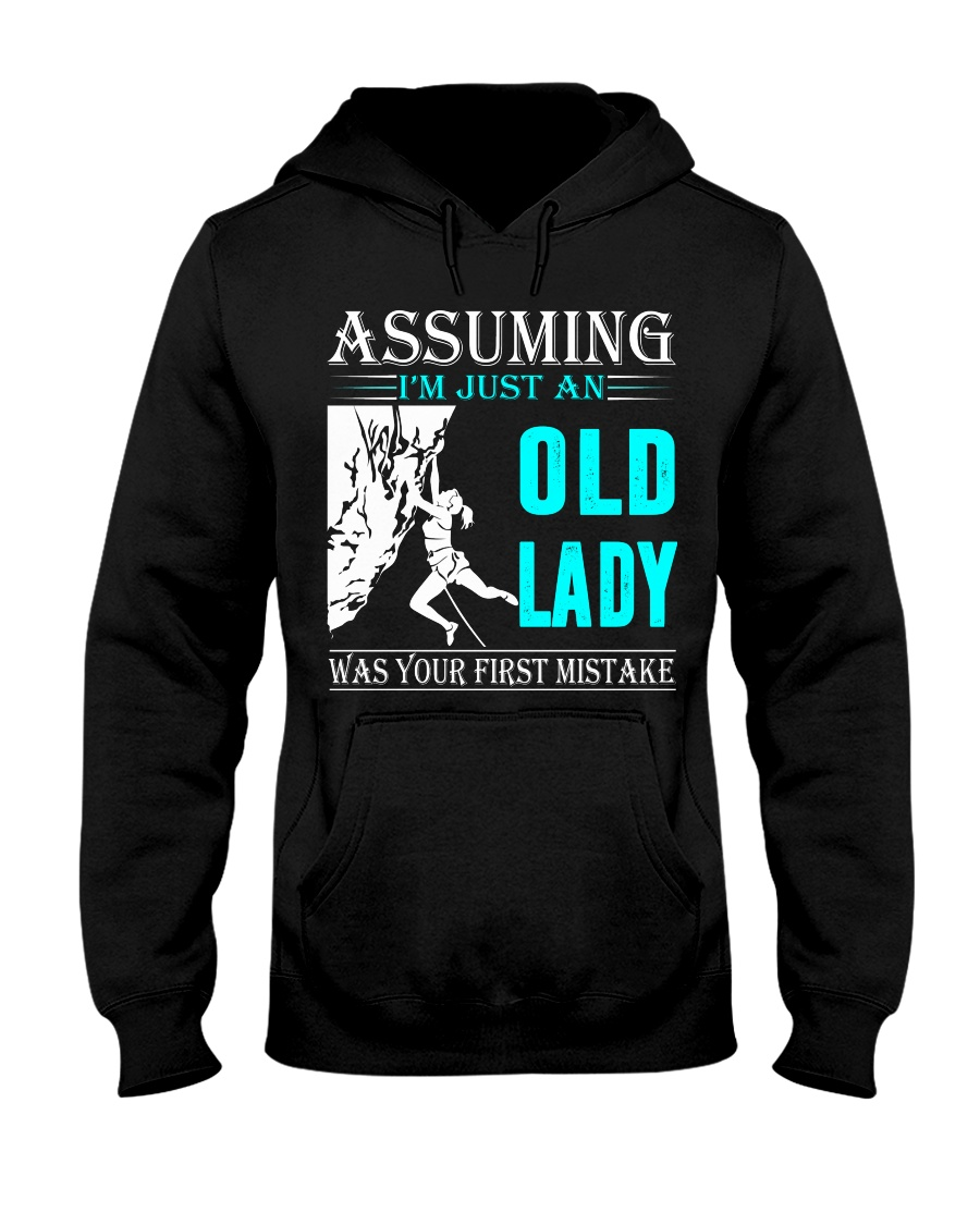 Rock climbing old lady Hooded Sweatshirt
