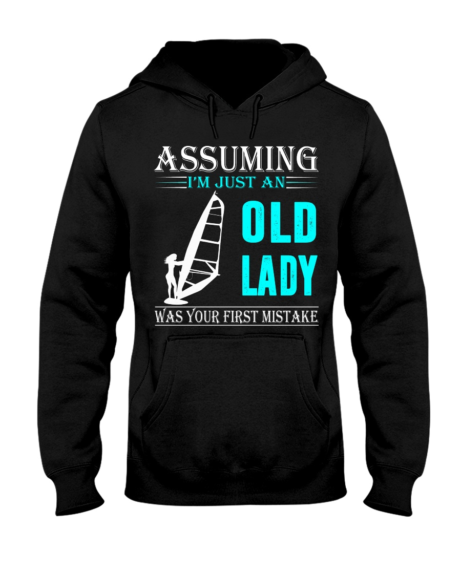 windsurfing old lady Hooded Sweatshirt