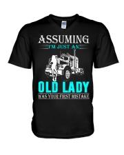 Monster truck old lady V-Neck T-Shirt thumbnail