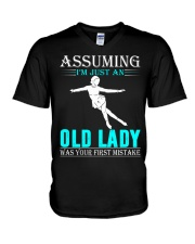 Figure skating old lady V-Neck T-Shirt thumbnail
