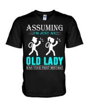 geocaching old lady V-Neck T-Shirt thumbnail