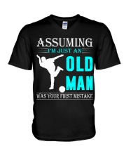 bowling old man V-Neck T-Shirt thumbnail