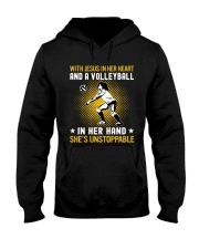 volleyball in her hand Hooded Sweatshirt front
