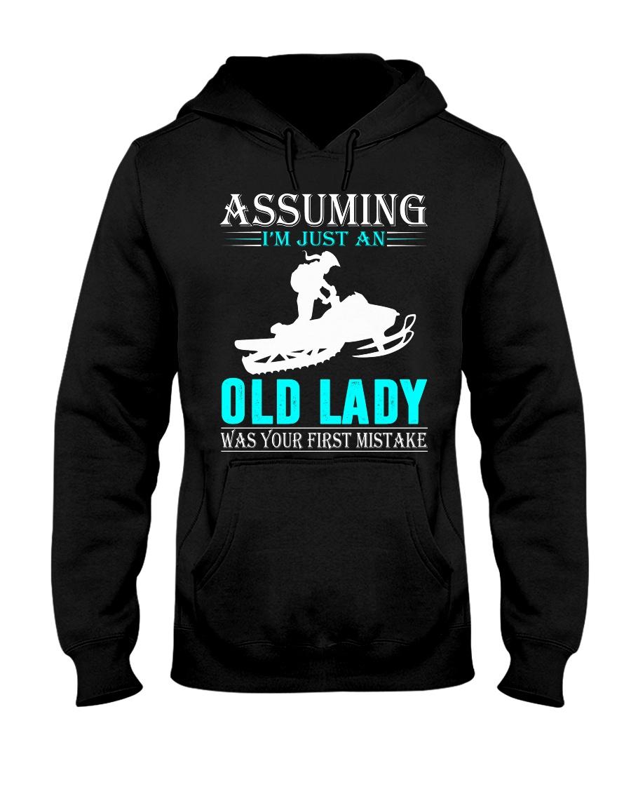 snowmobile old lady Hooded Sweatshirt