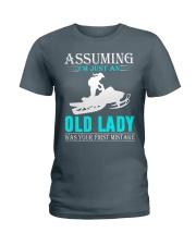 snowmobile old lady Ladies T-Shirt thumbnail