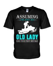 snowmobile old lady V-Neck T-Shirt thumbnail