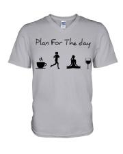 Plan for the day running - yoga V-Neck T-Shirt thumbnail