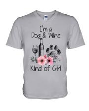 I'm a dog and wine kind of girl V-Neck T-Shirt thumbnail