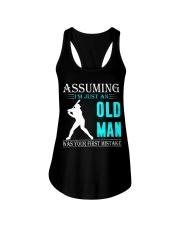 Softball old man Ladies Flowy Tank thumbnail