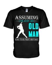 Softball old man V-Neck T-Shirt thumbnail