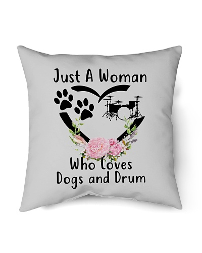woman loves dogs and drum