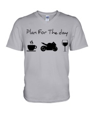 Plan for the day motorcycle V-Neck T-Shirt tile