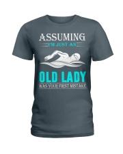 swimming old lady Ladies T-Shirt thumbnail