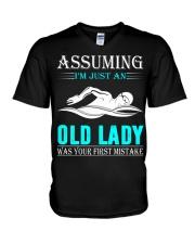 swimming old lady V-Neck T-Shirt thumbnail