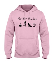Plan for the day coffee running dogs and beer a Hooded Sweatshirt front