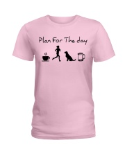 Plan for the day coffee running dogs and beer a Ladies T-Shirt thumbnail