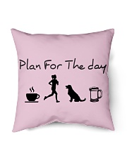 """Plan for the day coffee running dogs and beer a Indoor Pillow - 16"""" x 16"""" thumbnail"""
