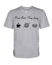 Plan for the day crochet and books V-Neck T-Shirt thumbnail
