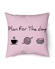 """Plan for the day crochet and books Indoor Pillow - 16"""" x 16"""" thumbnail"""