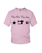 Plan fot the day coffee sewing and whiskey Youth T-Shirt thumbnail