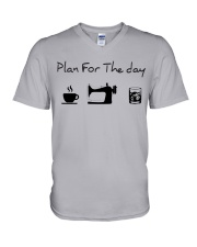Plan fot the day coffee sewing and whiskey V-Neck T-Shirt thumbnail