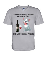 A woman can not survice alone V-Neck T-Shirt thumbnail