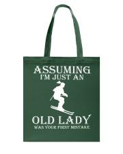 Skiing lady Tote Bag thumbnail
