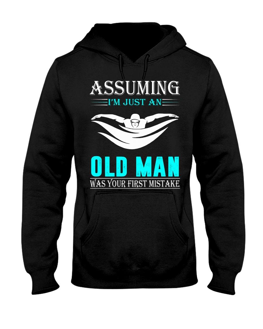swimming old man Hooded Sweatshirt