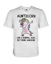 Aunticorn Like A Normal Aunt But More Awesome V-Neck T-Shirt thumbnail