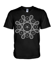 Cycling wheels and chain V-Neck T-Shirt tile