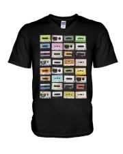Cassette tapes mixtapes 1980s V-Neck T-Shirt thumbnail