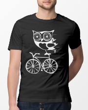 Owl on bicycle Classic T-Shirt lifestyle-mens-crewneck-front-13
