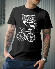 Owl on bicycle Classic T-Shirt lifestyle-mens-crewneck-front-6