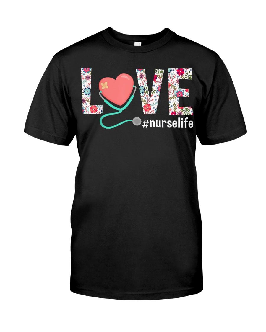 Love Floral Tropical Nurse Life T-shirt Classic T-Shirt