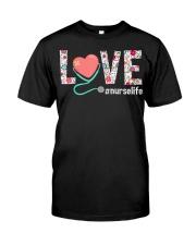 Love Floral Tropical Nurse Life T-shirt Classic T-Shirt front