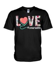 Love Floral Tropical Nurse Life T-shirt V-Neck T-Shirt thumbnail