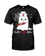 Halloween Nurse Ghost I Will Stab You Classic T-Shirt front