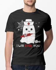 Halloween Nurse Ghost I Will Stab You Classic T-Shirt lifestyle-mens-crewneck-front-13
