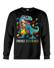 Dinosaur Puzzle Piece Autism Awareness Crewneck Sweatshirt thumbnail