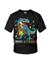 Dinosaur Puzzle Piece Autism Awareness Youth T-Shirt thumbnail